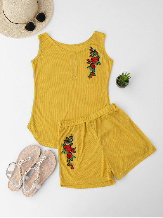 women Embroidered Ribbed Tank Top and Knitting Short - YELLOW S