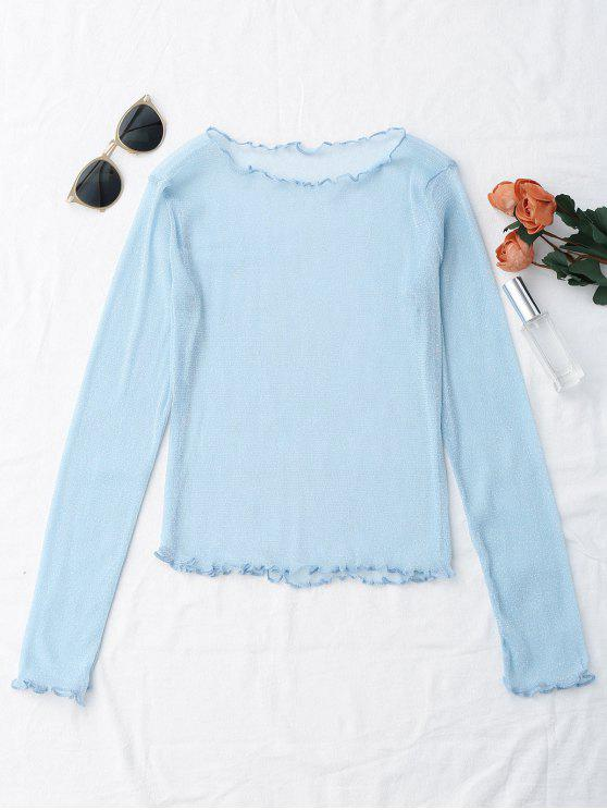 affordable Glittered Layering See-Through Top - LIGHT BLUE M