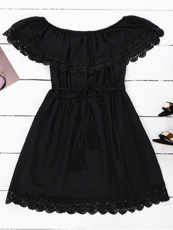 فستان بلا اكتاف الشيفون مع حزام - أسود S