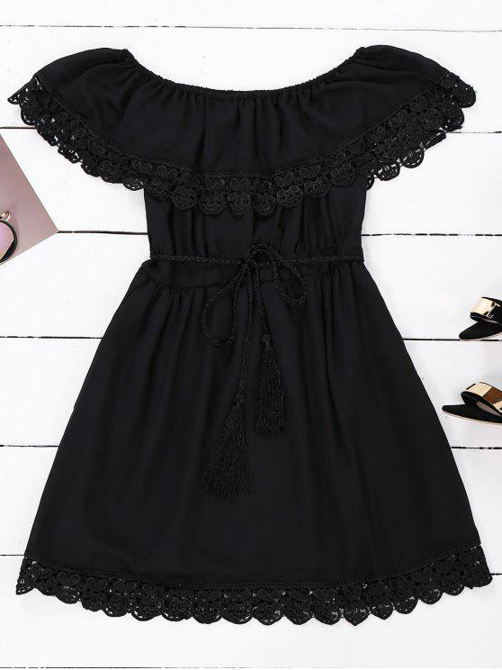 women's Off Shoulder Chiffon Dress With Belt - BLACK L