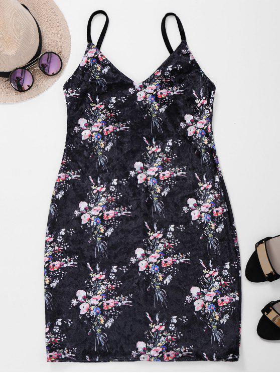 عارية الذراعين الدانتيل يصل الزهور اللباس المخملية - أسود M
