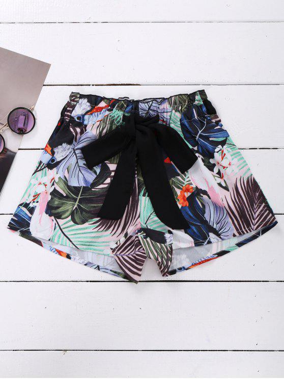 women Tie Front Plant Print Beach Shorts - COLORMIX S