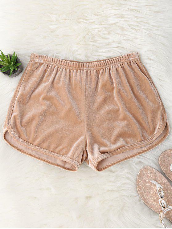 Shorts de terciopelo de cintura elástica - Caqui M