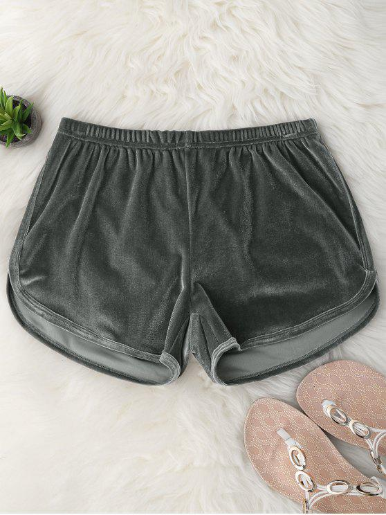 chic Elastic Waist Casual Velvet Shorts - GRAY M