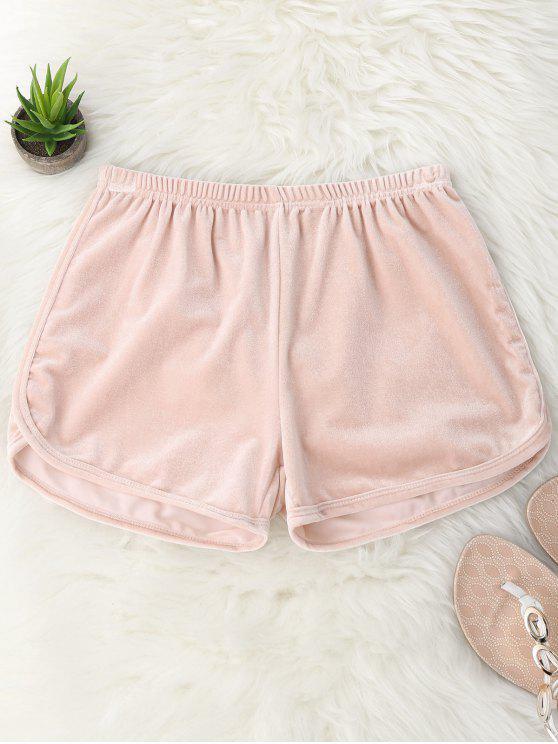 womens Elastic Waist Casual Velvet Shorts - PINK M