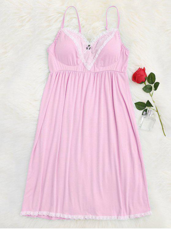 sale Padded Lace Trim Cami Sleep Dress - PINK M
