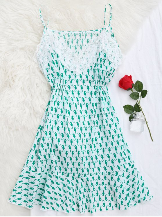 hot Sea Horse Print Lace Panel Cami Sleep Dress - GREEN M