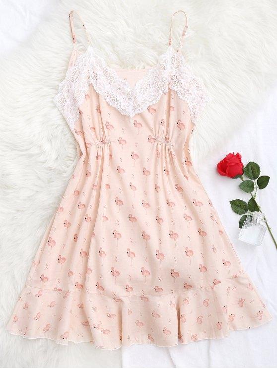 latest Flamingo Print Lace Panel Cami Sleep Dress - PINK S