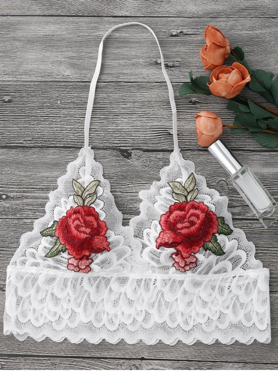 Pajarita Floral Largo Long Bralette Top - Blanco M