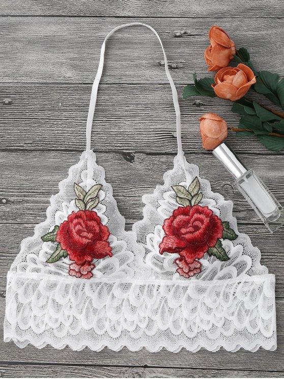 Pajarita Floral Largo Long Bralette Top - Blanco S