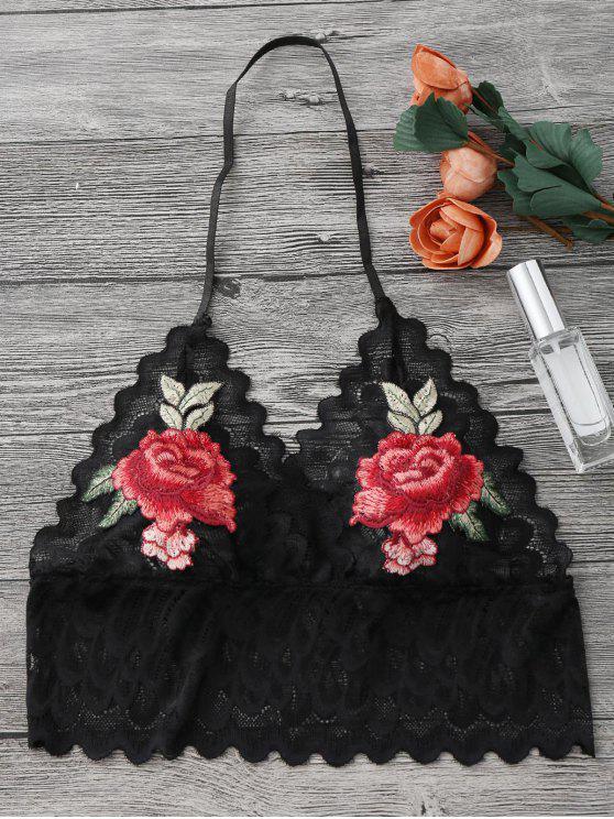 Brassière sans armature transparent en dentelle avec décoration floral - Noir M