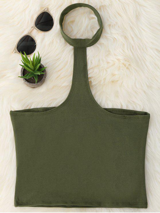 Camiseta recortada de Racerback - Verde del ejército Única Talla
