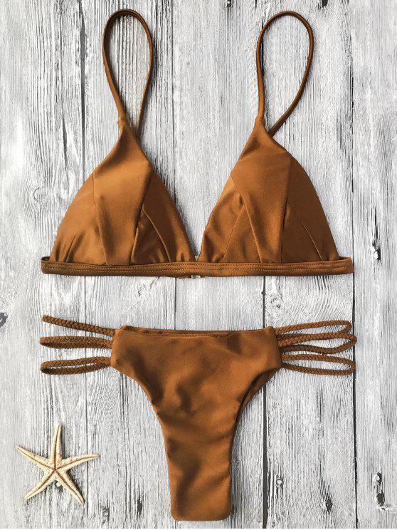 fashion Padded Bikini Top and Braided String Bottoms - BROWN S