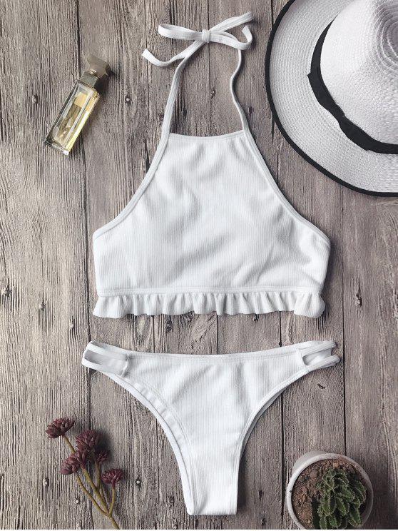 unique Textured Frilled High Neck Bikini Set - WHITE S