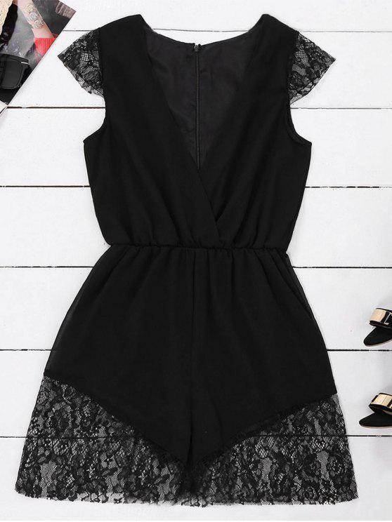 Vestido sin mangas de la gasa de la gasa del panel del cordón - Negro XL