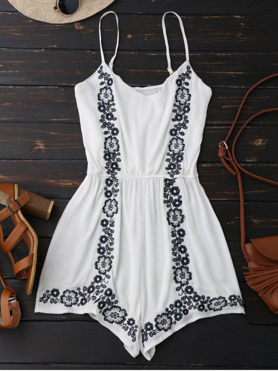 fashion Cami Floral Embroidered Romper - WHITE ONE SIZE
