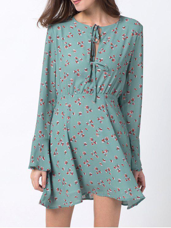 shop Tiny Floral Flare Sleeve Chiffon Dress - ICE BLUE XS