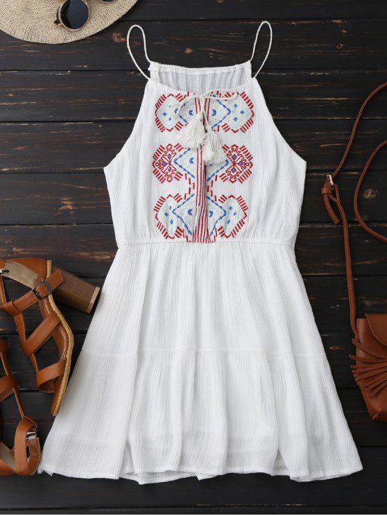 Vestido de Sol de Bordado con Borlas - Blanco Única Talla