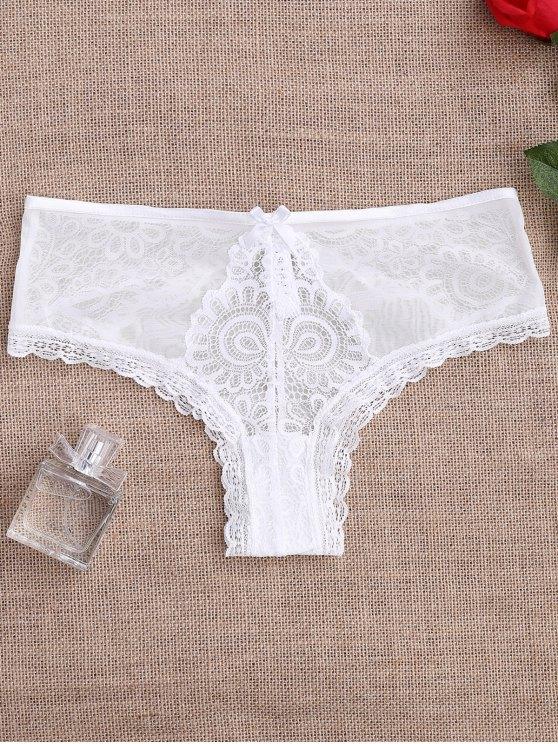 الدانتيل لوحة انظر من خلال ثونغ سراويل - أبيض XL