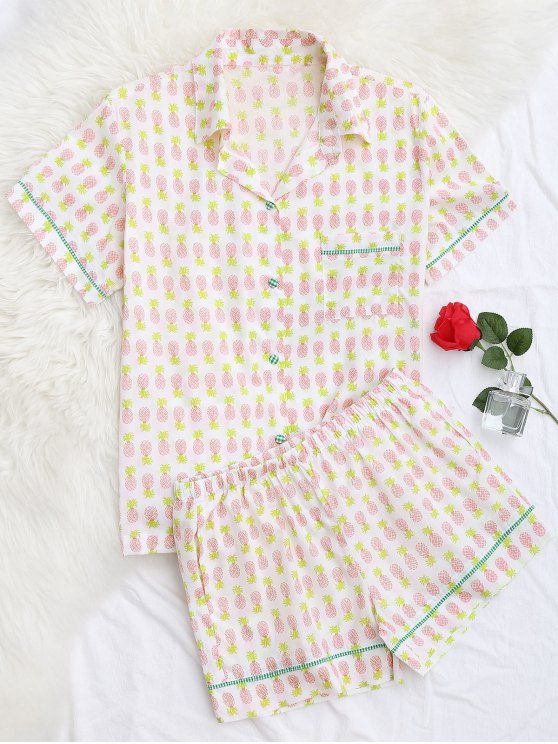 online Pocket Pineapple Shirt with Shorts Loungewear - WHITE M