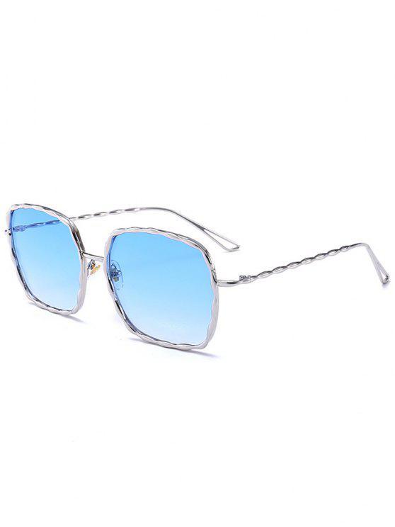 Il telaio in metallo rettangolare ondulato scava gli occhiali da sole delle gambe - Cornice d'Argenta + Blu Lente