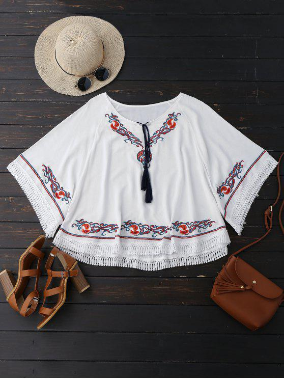 affordable Oversized Embroidered Fringed Top - WHITE ONE SIZE