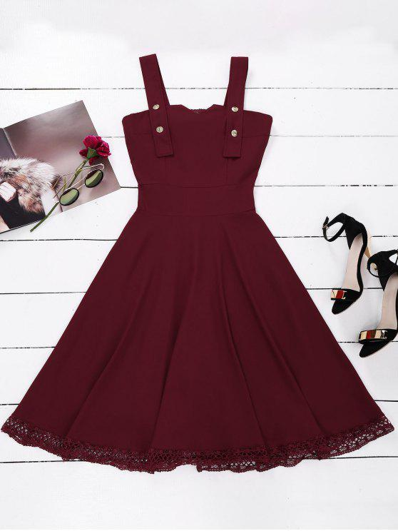 women Lace Panel Sleeveless Fit and Flare Dress - WINE RED L