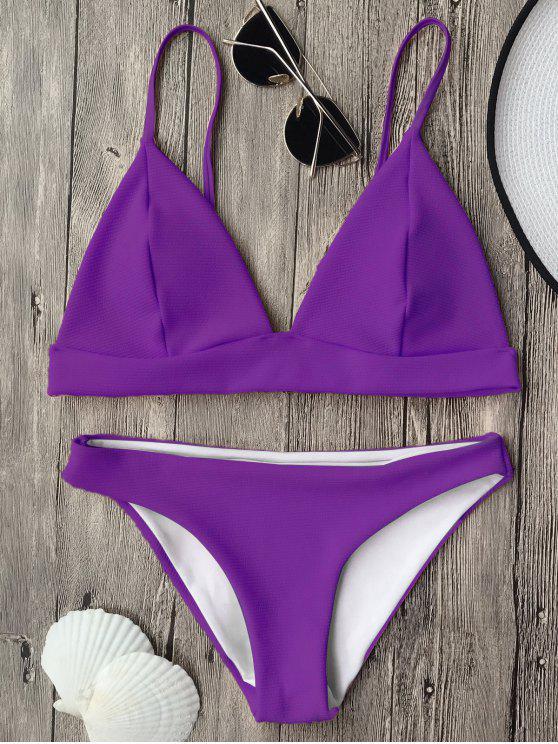 women's Cami Plunge Bralette Bikini Top and Bottoms - PURPLE M