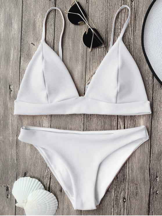 fancy Cami Plunge Bralette Bikini Top and Bottoms - WHITE L