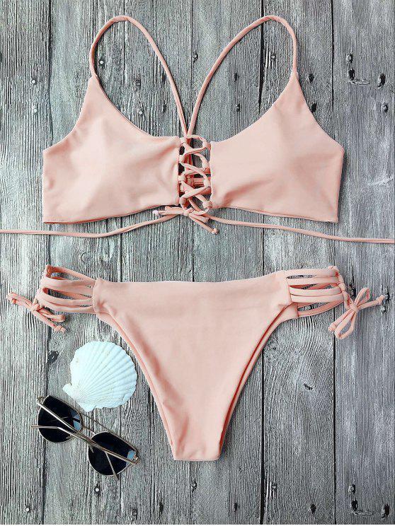Conjunto de bikini rellenado con tirantes - Rosa L