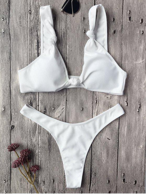 39108e8bd6c41 38% OFF  2019 Textured Knotted Bralette Thong Bikini Set In WHITE ...