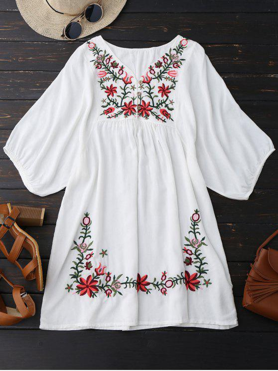 women's Floral Embroidered V Neck Peasant Dress - WHITE ONE SIZE