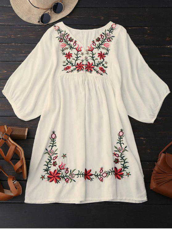 Vestito contadino ricamato floreale con collo V - Palomino Una Taglia