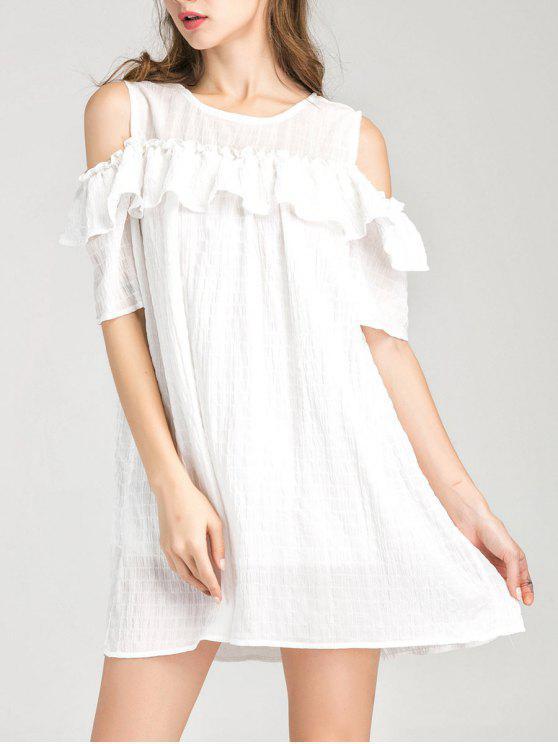 فستان مريح تونك كشكش باردة الكتف - أبيض L