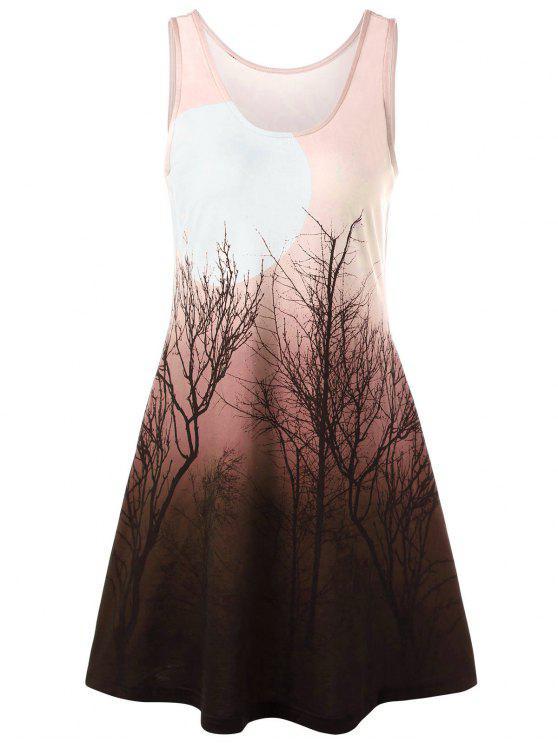 Baum Nacht Szene gedruckt Mini-Tank-Kleid - orange pink  M