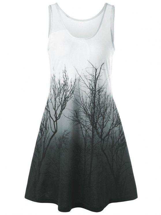 Baum Nacht Szene gedruckt Mini-Tank-Kleid - Grün Grau  L