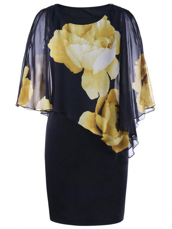latest Slit Sleeve Floral Capelet Dress - BLACK XL