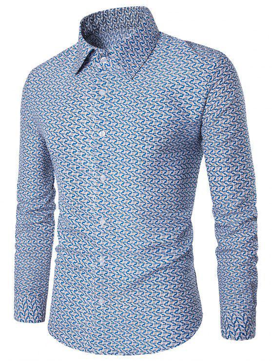 قميص مطبوع طويل الأكمام - أزرق 3XL