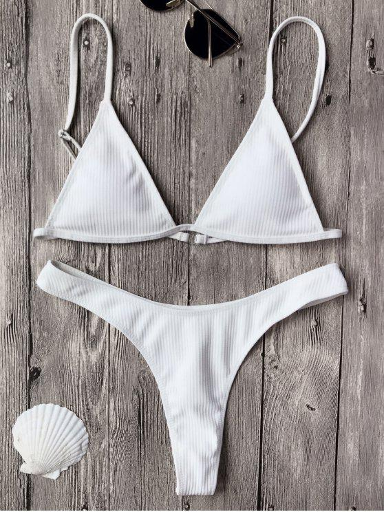 sale Textured Plunge Bikini Top and Thong Bottoms - WHITE L