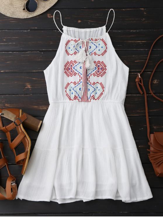Vestido bordado do verão com franja - Branco Um Tamanho