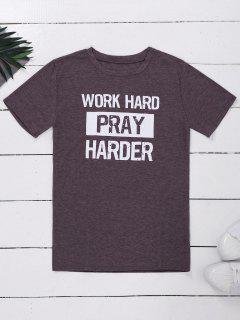 Crew Neck Slogan Print Graphic T-Shirt - Light Purple L