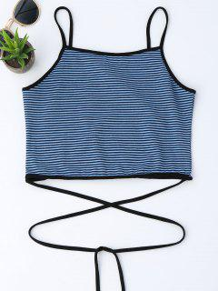 Cropped Stripes Strappy Tank Top - Blue