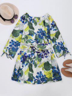 Drawstring Sleeve Floral Blouson Dress - L