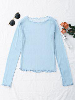Glittered Layering See-Through Top - Light Blue M
