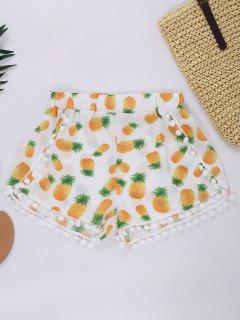 Shorts Con Estampado De Piña Con Pompón - Blanco Xl