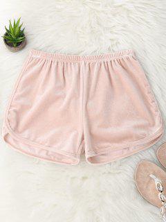 Shorts De Terciopelo De Cintura Elástica - Rosa M