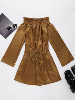 Off Shoulder Metallic Romper With Rope Belt - Gold Brown Xl