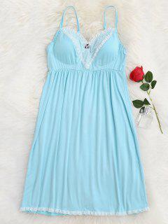 Vestido Acolchado De Encaje De Encaje Cami Sleep - Lago Azul M