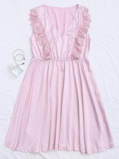 Lace Panel V Neck Satin Sleep Dress - Pink M