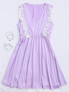 Lace Panel V Neck Satin Sleep Dress - Purple L